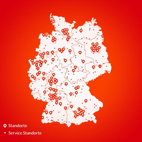 Abbildung Deutschlandkarte mit Standorten unserer Thermondo Heizungsinstallateure